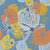Seamless pattern with pond, dragonflies — Stock Vector