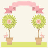 Background with topiary trees, birds — Stock Vector