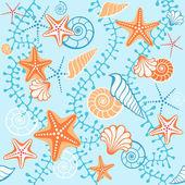 Blue retro seamless sea pattern — Stock Vector
