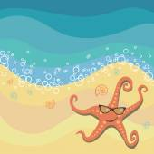 Starfish in sunglasses on beach — Stock Vector
