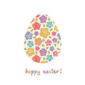 Easter egg with doodle flower — Stock vektor