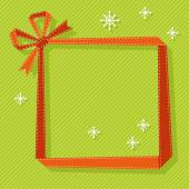Christmas origami frame from ribbon — Stock Vector