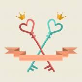 Romantic wedding card with key — Stock Vector