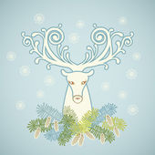 Head of deer with branches of pine — Stockvector