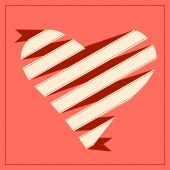 Origami banner with heart icon — Stock Vector