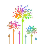 Stylized flowers with colorful petals in shape of drop — Stock Vector