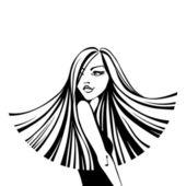 Młoda kobieta z długimi włosami — Wektor stockowy