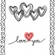Valentine doodles card with hearts — Stock Vector #59626727