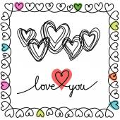 Doodle hearts and frame — Vetorial Stock