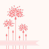 Pink flowers with ribbon — Stock Vector