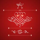 CaCalligraphic  two hearts, crown, flower — Vettoriale Stock