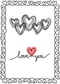 Valentine doodles card with hearts — Stock Vector