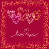 Romantic card with doodle hearts — Stock Vector