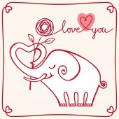Valentines card with white elephant — Stock Vector