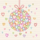 Świąteczny kuli wykonane z małych serc gryzmoły — Wektor stockowy
