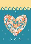 Sea heart of seashells and starfishes — Stock Vector