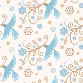Seamless pattern with birds, flowers — Stockvector