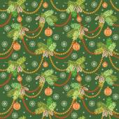 Christmas seamless pattern with decoration — Stock Vector