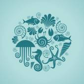 Background of sea fauna — Stock Vector