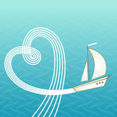 Romantic background with sea, yacht — Vector de stock
