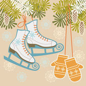 Winter background with retro ice figure skates and mittens — Stock Vector