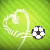 Soccer ball with heart track — Stock Vector
