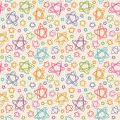 Seamless pattern with color stars of doodles — Stock Vector