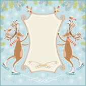 Christmas banner with skating deer — Wektor stockowy