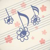 Notes of doodles in shape of flowers on music sheet — Stock Vector