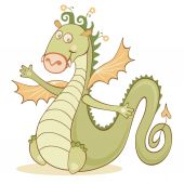 Cartoon cheerful dragon — Vector de stock