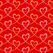 Seamless pattern with hearts of pink ribbons — Stok Vektör