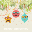 Cristmas decoration with mustache, glasses — Stock Vector #59632249