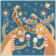 Christmas card with cheery party — Stock Vector #59634267