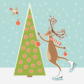 Christmas tree and skating deer — Stock Vector
