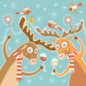 Christmas card with cartoon deer — Stock Vector