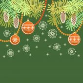 Christmas background with decoration, branches — Stock Vector