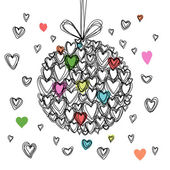 Festive ball of doodle hearts — Stock Vector