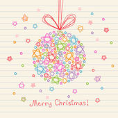 Christmas ball of doodles stars — Stock Vector