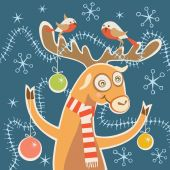 Christmas comic card with deer — Stock Vector