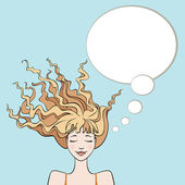 Dreaming woman with thought bubble — Stock Vector