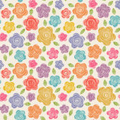 Seamless pattern with doodles flowers — Stock Vector