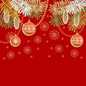 Christmas vintage red background — Stock Vector