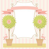 Card with topiary trees, birds, banner and ribbon — Stockvektor