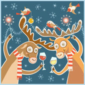 Christmas card with cheery party — Stock Vector