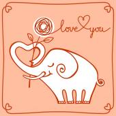 White elephant with heart and flower — Stock Vector