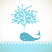 Icon of whale with fountain of water — Stock Vector