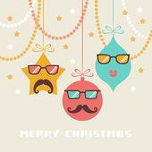 Christmas card with cute decoratiun — Stock Vector