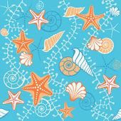 Seamless retro sea blue pattern — Stock Vector