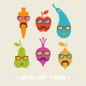 Hipster fruits and vegetables icons — Stock Vector
