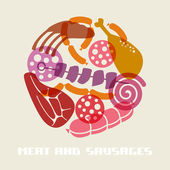 Color meat and sausages icon — Vetor de Stock